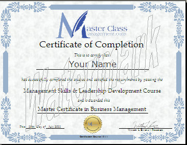MasterClassManagement.com  Course Completion Certificate Format