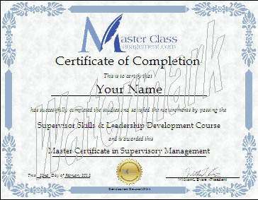 this master certificate in supervisory management will be in your name and sent to you in soft copy pdf format by e mail within 24 hours for only 19 usd
